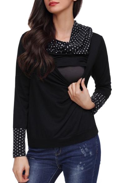 Fashion Polka Dot Printed Cowl Neck Maternity Nursing Casual Sweatshirt