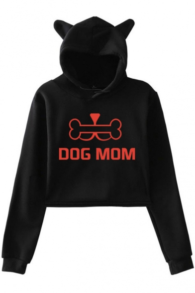 Funny Bone Letter DOG MOM Printed Cute Ear Design Cropped Casual Hoodie, Black;dark navy;pink;white;gray, LM533950