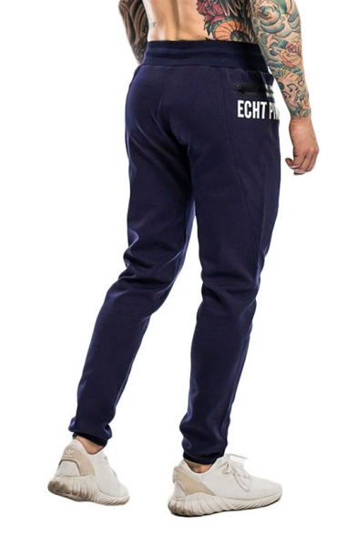 Guys Fashion Zipper Embellished Letter Printed Drawstring Waist Slim Sport Pants Trousers
