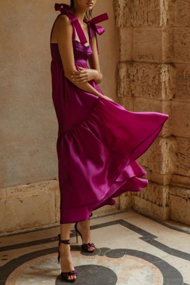 Hot Fashion Bow Spaghetti Straps Sleeveless Plain Maxi Boho Purple Shift Dress