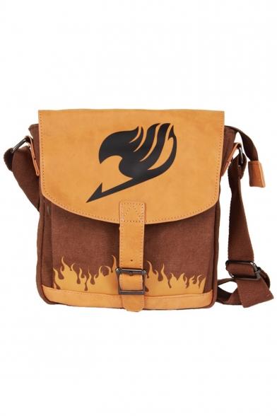 Hot Fashion Cosplay Fire Printed Yellow Canvas School Crossbody Shoulder Bag 28*22*6 CM