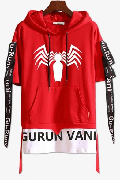 Hot Fashion Spider Printed Short Sleeve Ribbon Detail Drawstring Fake Two-Piece Hooded Tee
