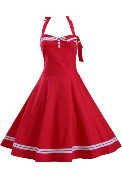 Hot Fashion Vintage Halter Neck Sleeveless Plain Button Detail Midi Flared A-Line Dress
