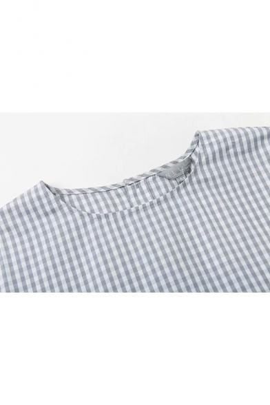 Light Blue Plaid Pattern Round Neck Three-Quarter Sleeve Mini Shift Ruffle Dress