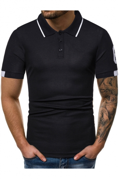 Men's Fashion Plain Number Embroideried Tipped Collar Short Sleeve Slim Fit Polo Shirt
