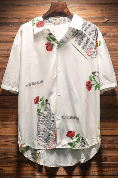 Summer Beach Short Sleeve Mens Casual Loose Print Hawaiian Shirt
