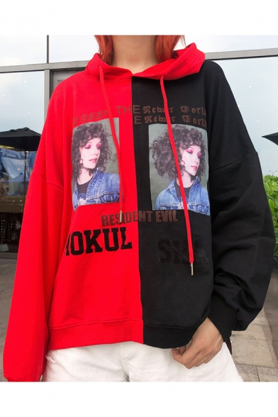 MOKUL SHA Letter Colorblock Girl Printed Long Sleeve Drawstring Hoodie