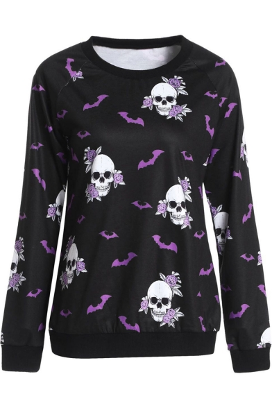 New Stylish Bat Floral Skull Print Round Neck Long Sleeve Black Pullover Sweatshirt