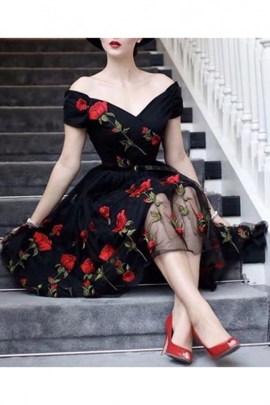 New Stylish Sexy Plunging V-Neck Rose Floral Embroidery Black Maxi Mesh Flared Dress