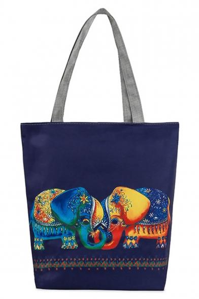 Personalized Elephant Printed Dark Blue Canvas Shoulder Bag 27*8*37 CM
