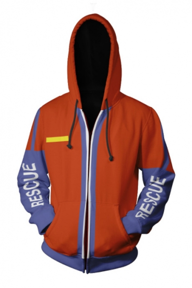 Popular Game Cosplay Costume Letter RESCUE Long Sleeve Cross Letter LIFEGUARD Back Red Zip Up Hoodie