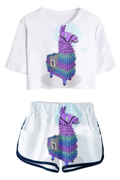 Popular Game Hobby Horse Printed Crop Tee with Loose Sport Dolphin Shorts Two-Piece Set in White
