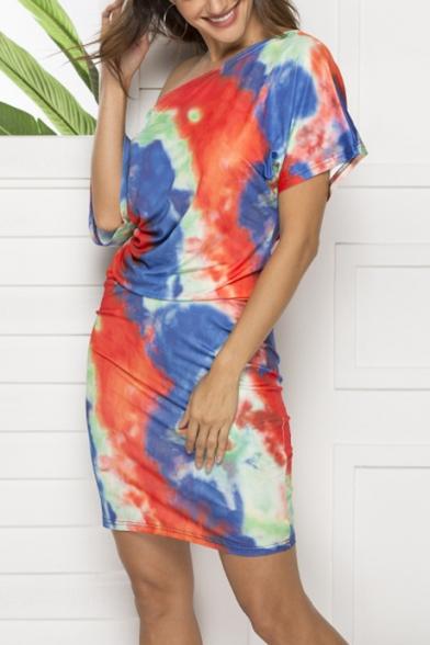 Summer New Fashion Tie Dye Sexy Oblique One Shoulder Short Sleeve Mini Bodycon Dress