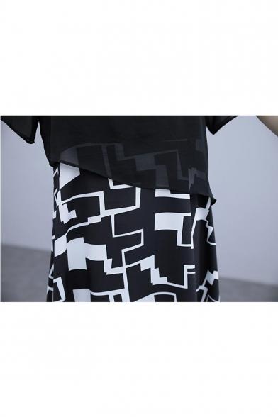Summer New Trendy V-Neck Geometric Printed Black Mini A-Line Dress