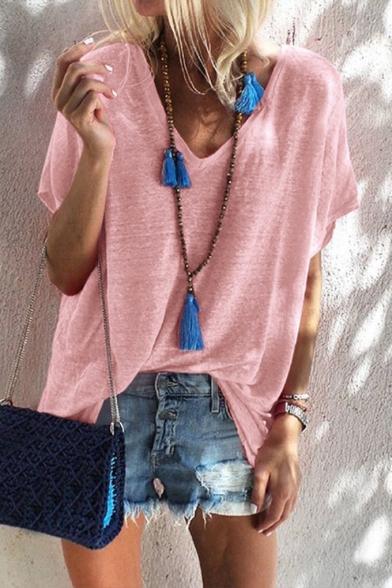 Summer Simple Plain V-Neck Short Sleeve Casual Loose T-Shirt for Women