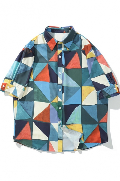 Summer Trendy Vintage Geometric Pattern Button Up Holiday Unisex Beach Casual Shirt