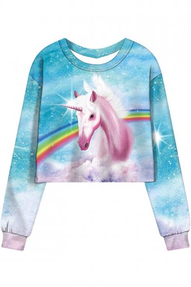Trendy Rainbow Unicorn Printed Round Neck Long Sleeve Cropped Blue Sweatshirt