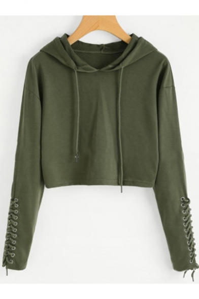 Trendy Solid Color Eyelet Lace-Up Long Sleeve Sport Loose Cropped Hoodie