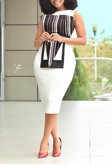 White Round Neck Sleeveless Striped Patchwork Midi Bodycon Dress