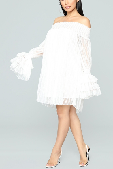 Women's Fashion Off the Shoulder Long Sleeve Plain Mesh Detail Mini Nightclub Tube Dress