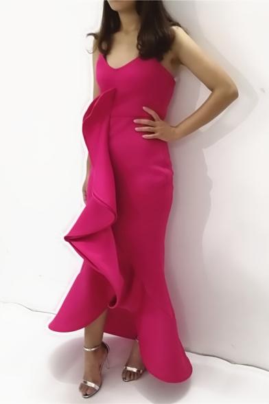 Women's Fashion Sexy V-Neck Sleeveless Plain Ruffle Hem Maxi Asymmetric Rose Red Dress