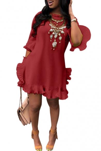 Women's Hot Fashion Round Neck Bell Sleeve Plain Pleated Hem Mini Asymmetric Dress