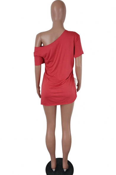 Women's Sexy One Shoulder Short Sleeve HUSTLE LIFE Letter Mini Red Dress