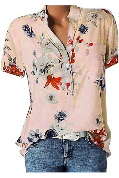 Women's Summer Chic Floral Printed Button V-Neck Short Sleeve Loose Fit Shirt Blouse