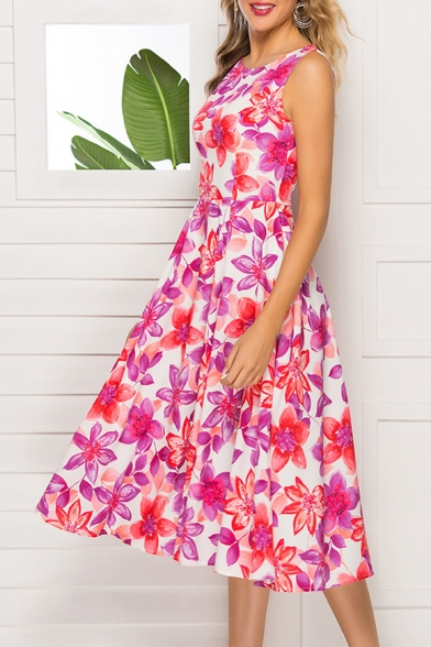 Women's Vintage Round Neck Sleeveless Floral Printed Midi A-Line Tank Dress