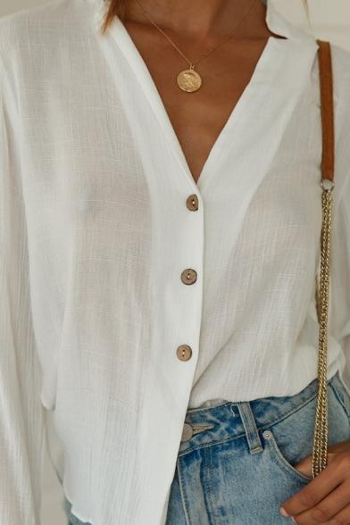 Womens Summer Chic Simple Plain V-Neck Long Sleeve Button Down White Shirt Blouse
