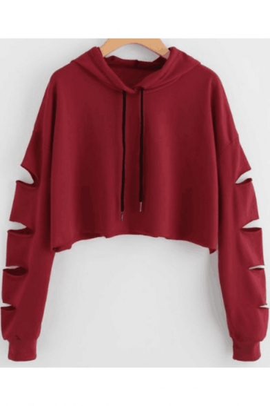 Womens Trendy Solid Color Hollow Out Long Sleeve Casual Loose Cropped Hoodie, LM532583, Black;red;white;gray;yellow;army green;navy