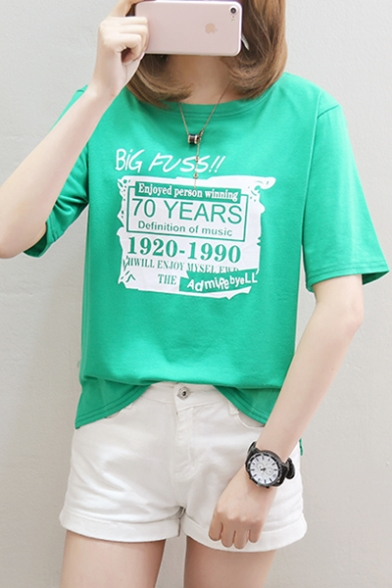 Cool Letter BIG FUSS Pattern Round Neck Short Sleeve Casual Cotton Tee