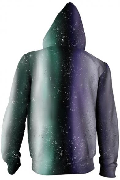 Fashion Jack Skellington Green and Purple Comic Character Pattern Long Sleeve Zip Up Hoodie
