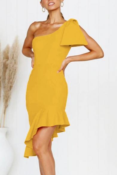 Fashion Oblique Collar Bow-Tied Strap Fishtail Ruffled Hem Bodycon Asymmetrical Dress