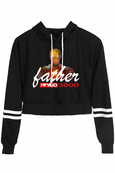 Father's Day Cool Iron Figure Letter FATHER I LOVE YOU 3000 Striped Long Sleeve Crop Hoodie