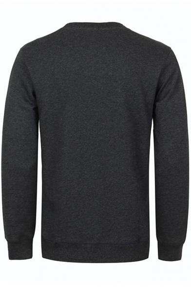 Guys Basic Round Neck Long Sleeve Astronaut Printed Pullover Black Sweatshirt