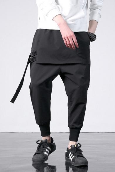 Guys Unique Stylish Buckle Ribbon Embellished Layer Patched Front Black Plain Harem Pants
