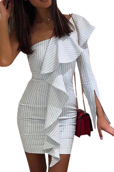 Hot Fashion One Shoulder Long Sleeve Ruffled Hem Vertical Striped Print Mini White Bodycon Dress