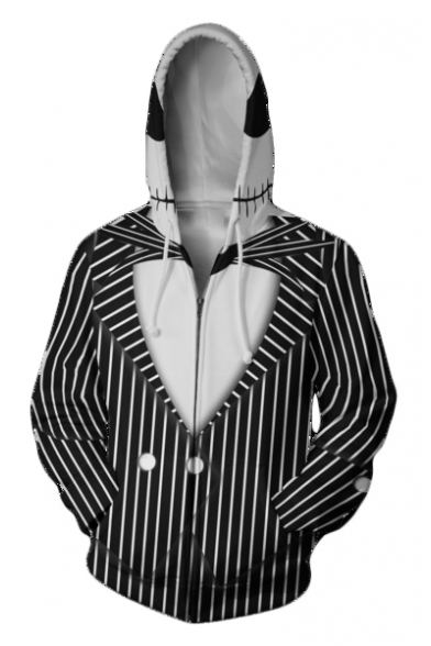 Jack Skellington 3D Comic Cosplay Costume Black Long Sleeve Zip Front Hoodie