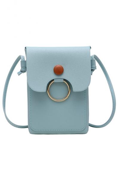 Minimalist Plain Button Ring Embellishment Crossbody Cell Phone Purse 13*18*2 CM