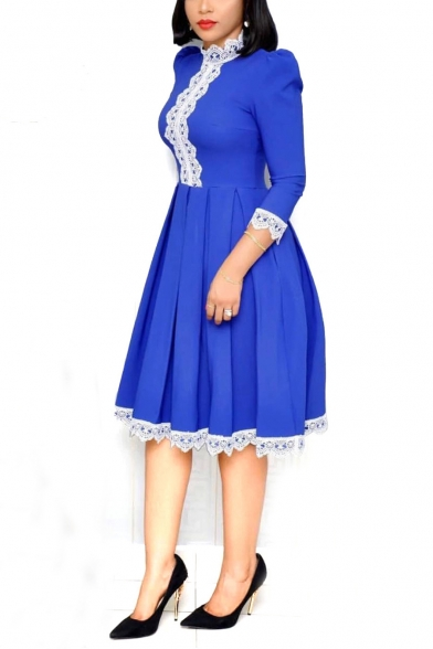 New Stylish 3/4 Sleeve Collared Plain Midi Lace Hem Pleated Swing Dress For Women