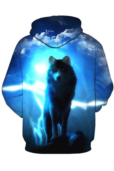 New Stylish Men's 3D Wolf Print Long Sleeve Blue Hoodie with Pocket