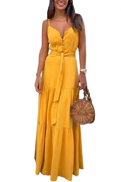 New Trendy Button V-Neck Sleeveless Tide Waist Maxi Slip Dress For Women