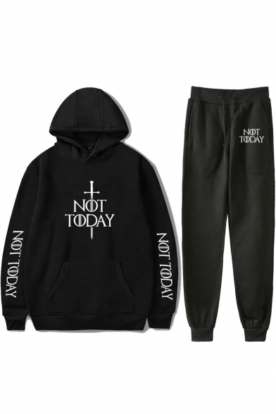 Popular Sword Letter NOT TODAY Print Casual Hoodie with Loose Fit Sweatpants Two-Piece Set, Black;dark navy;red;white;gray, LC538449
