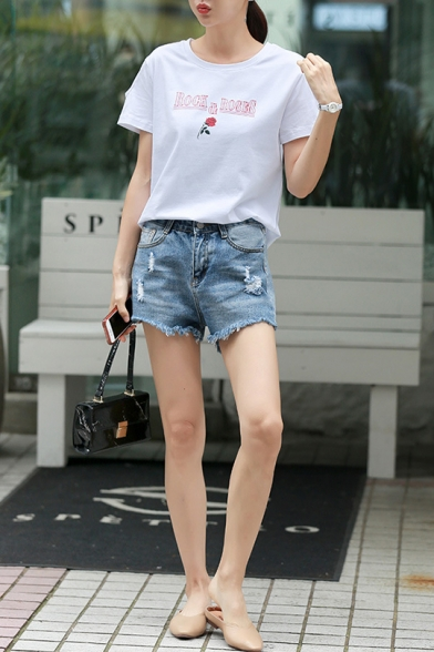 ROCK and ROSES Floral Printed Summer Basic Short Sleeve White Graphic Tee