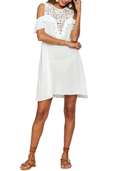 Summer Chic White Crochet Cold Shoulder Round Neck Mini Shift Dress