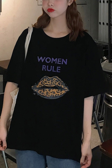 Summer Cool Stylish Lip Letter WOMEN RULE Casual Loose Graphic Tee