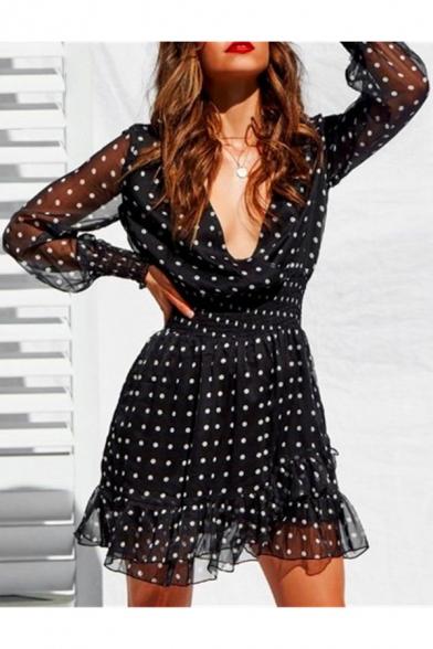 Summer Fancy Black Polka Dot Printed V-Neck Mesh Long Sleeve Mini A-Line Ruffled Dress