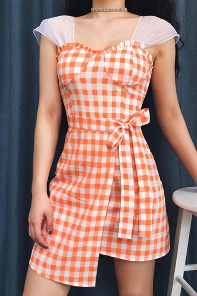 Summer Girls Fashion Orange Plaid Pattern Bow-Tied Waist Sheath Asymmetrical Dress