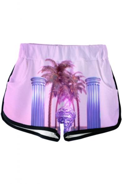 Summer Popular Vaporwave Cool 3D Pattern Elastic Waist Sport Loose Dolphin Shorts